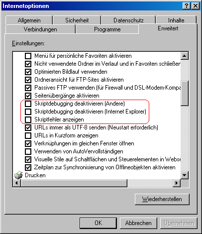 Screenshot der Internetopionen des IE6